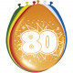 80 Years Balloons Multi-colored - 8 pieces