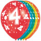 4 Year Birthday Balloons - 5 pieces
