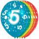 5 Year Birthday Balloons - 5 pieces