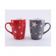 Coffee mug 355ml star design red and gray
