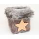 LUXURY bag with wide fur border 14x12x12cm,