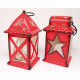 Lanterne XL 17x9x8cm rouge deux formes assorti ,