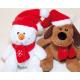 Pupazzo di neve e cane 14x14x13cm con sciarpa di l