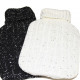 Hot water bottle 2 ltr. Knitted cover black / whit