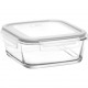 Glass container with lid 1150ml, 16x16x6cm