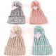 Winter ladies knit hat with pompom & envelope
