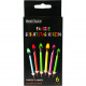 Birthday candle Colorful flame each 6cm, set of 6