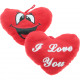 Plush heart with print 2 sided assorted 14x10cm
