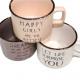 Coffee mug 8x6cm, enamel look, 220ml