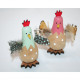 Wooden chicken 8x7x3cm, with real feathers