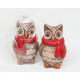 Owl with red scarf 6,5x4,5cm in cellophane verpac