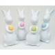 Bunny 12x6cm white glazed with colored egg
