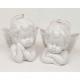 Angyal mellszobor, porcelánból XL 7x7x5cm, fényes