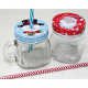 Handle glass with metal lid and drinking straw 10x
