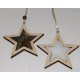 Hanger wooden star with fur 10x9,5cm and pearl