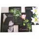 Carte imprimé floral enterrement sur fond noir