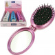 Mirror for bag oval foldable with hairbrush 8x