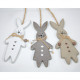 Wooden rabbit XL 13,5x5,5cm with hanger, with bow