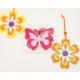 Butterfly + flower made of felt, 10x8cm, 3-ply
